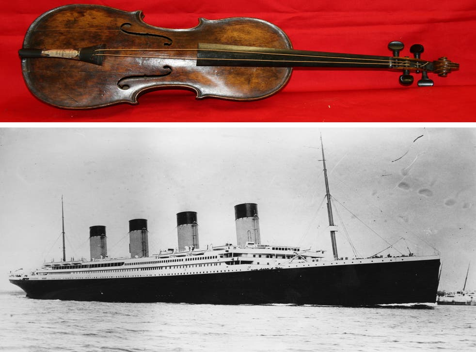 Top: the instrument alleged to have belonged to Titanic band leader Wallace Hartley who died when the ship sank. Bottom: the ocean liner which sank on its maiden voyage after hitting and iceberg