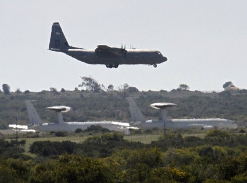 A RAF plane lands today at the Akrotiri airbase on Cyprus