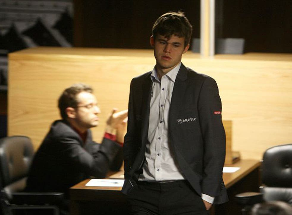 Magnus Carlsen at The World Chess Championship in London yesterday