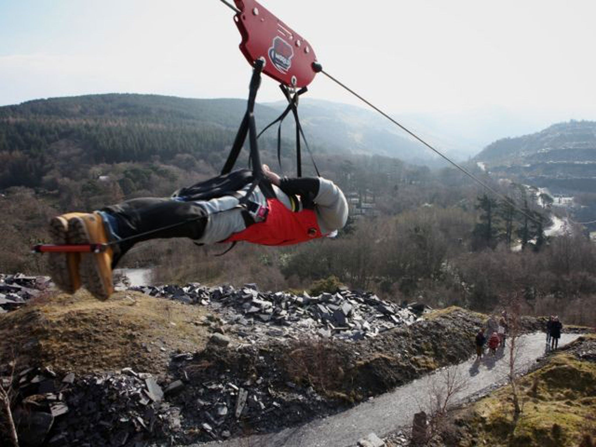 Mile-long zip wire opens in North Wales offering thrill-seekers an ...