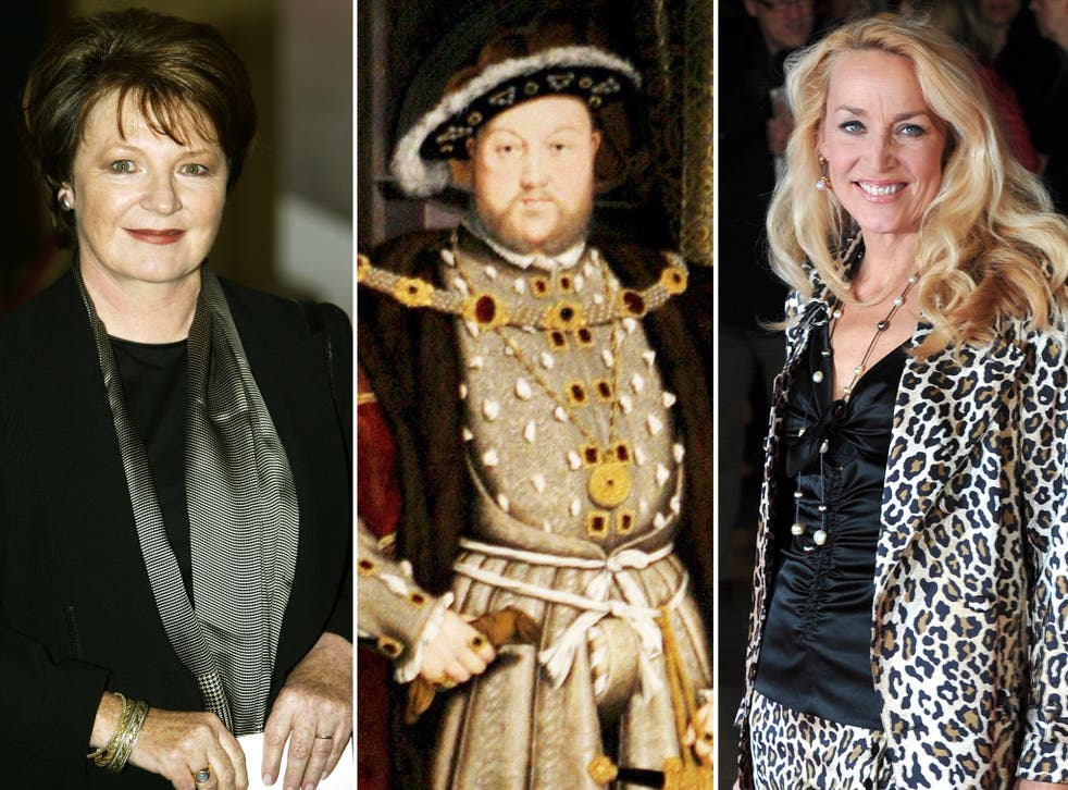 Henry VIII, centre, and 'wives' Delia Smith, left, and Jerry Hall