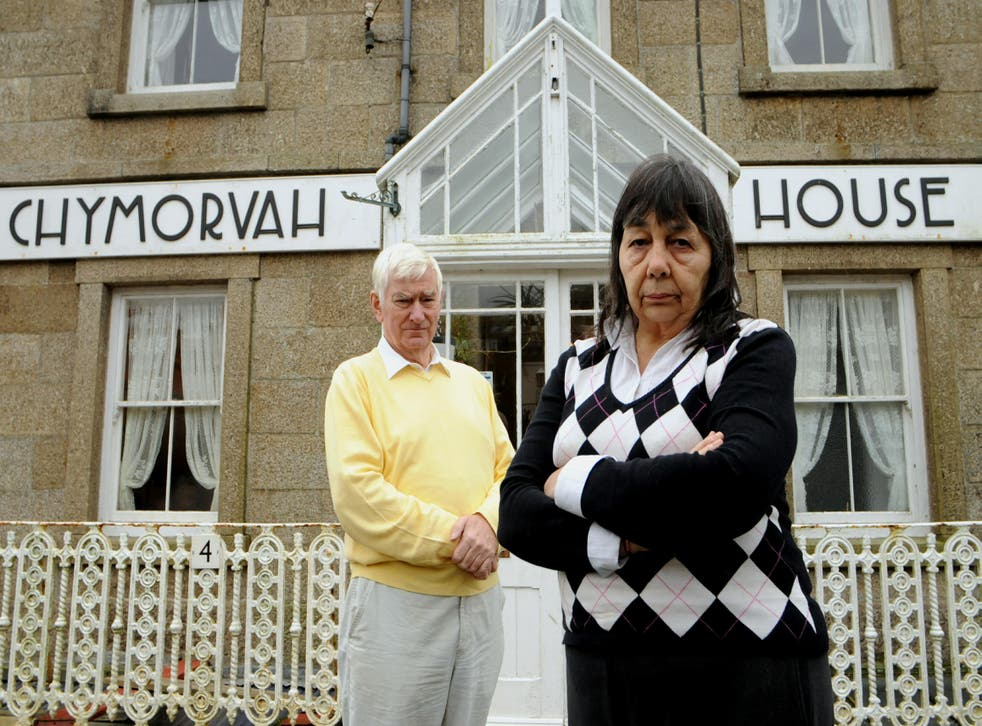 Peter and Hazelmary Bull outside their Chymorvah Hotel in Marazion, Cornwall