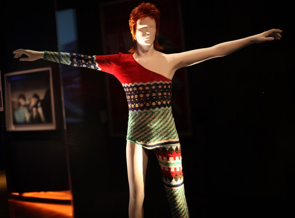 A costume designed by Japanese designer Kansai Yamamoto for David Bowie's Ziggy Stardust character is display at the Victoria and Albert museums' new major exhibition, 'British Design 1948-2012: Innovation In The Modern Age' on March 28, 2012 in London, England.