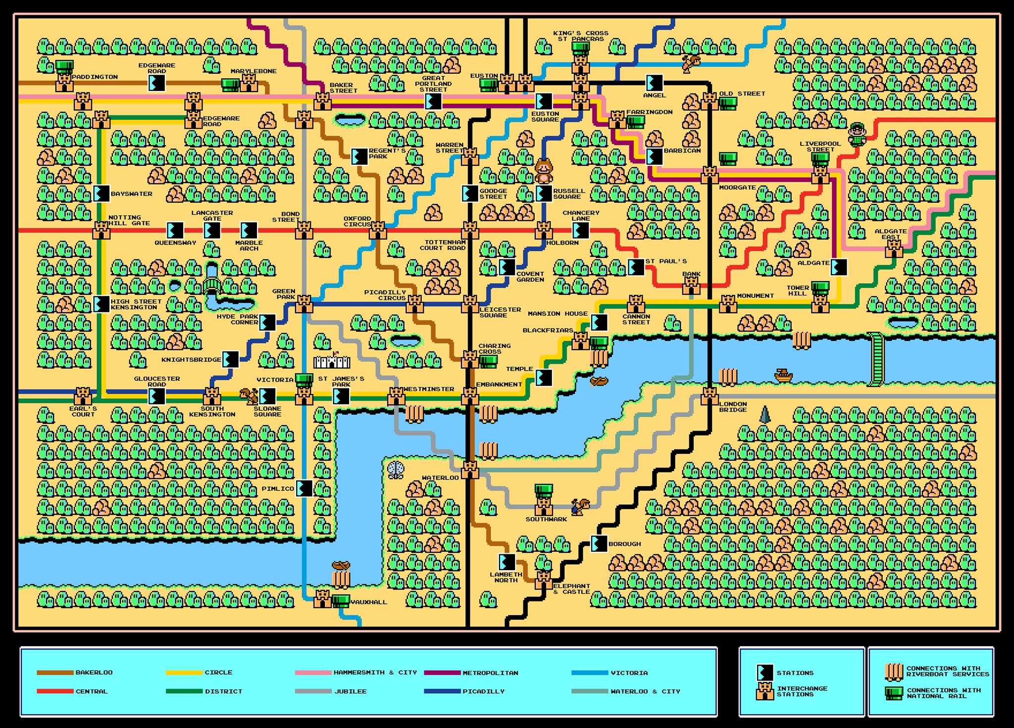 Super Mario Takes The Tube London Underground Map Gets The 8 Bit Nintendo Treatment The Independent The Independent