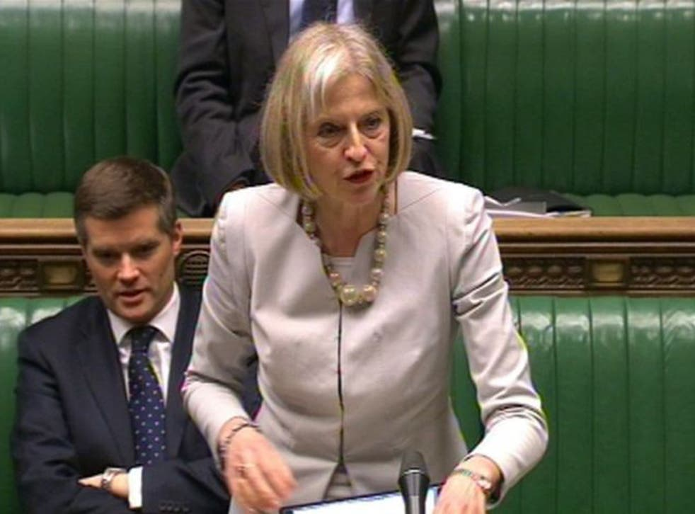 Home Secretary Theresa May speaks to the House of Commons in London  regarding the Government's decision to split the UK Border Agency