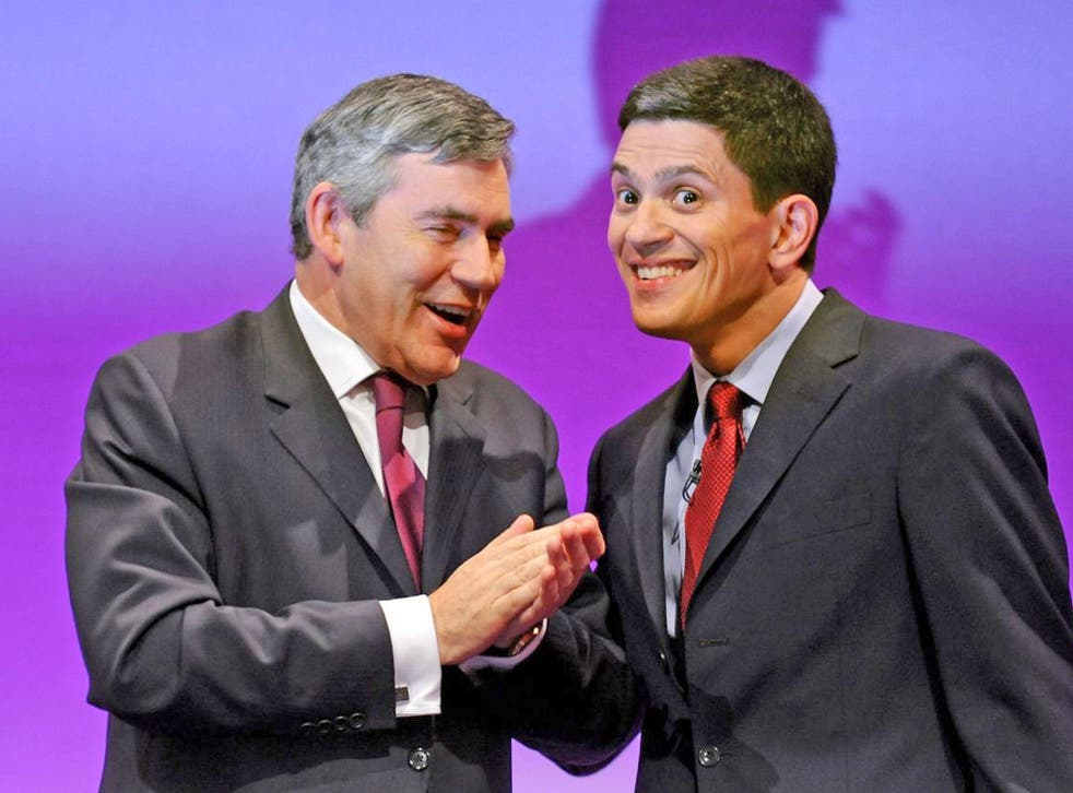 Former Prime Minister Gordon Brown with former Foreign Secretary David Miliband at the Labour Party conference