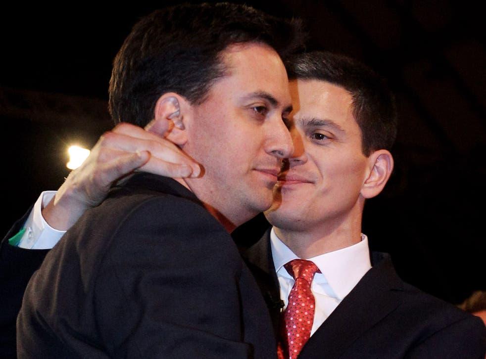 David Miliband embraces Ed after his leadership win