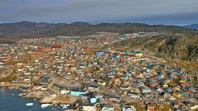 Aerial view August 30, 2007, of the town of Ilulissat, Greenland