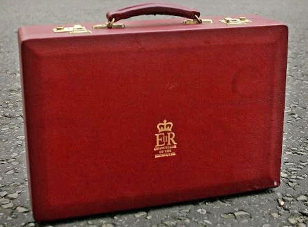 A replica of the British Chancellor's cabinet briefcase