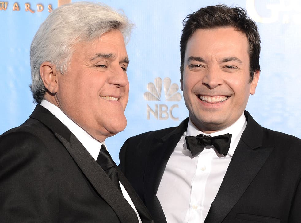 Changing of the guard: late-night hosts Jay Leno and Jimmy Fallon