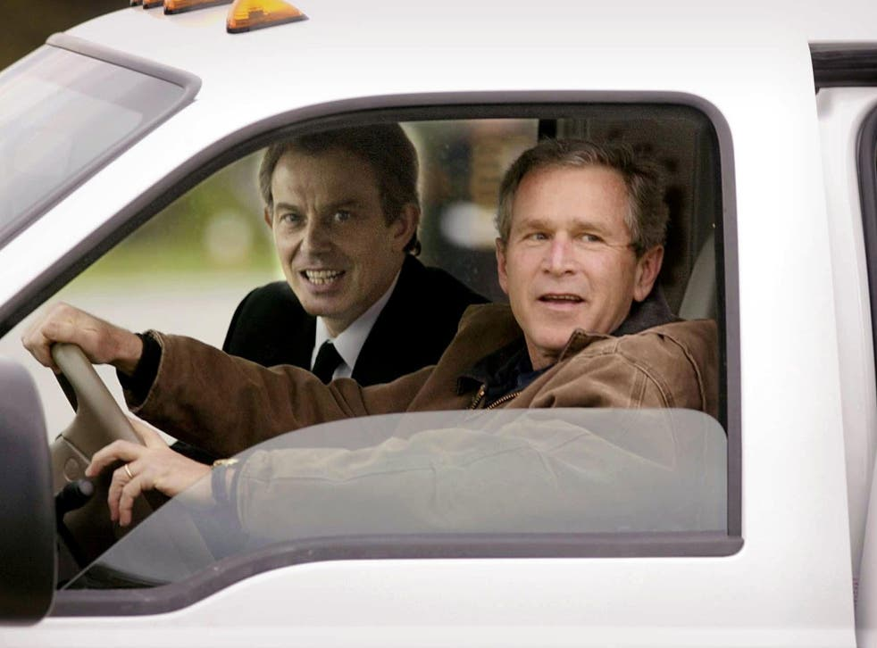 Tony Blair and George Bush at the Crawford ranch, Texas, in 2002