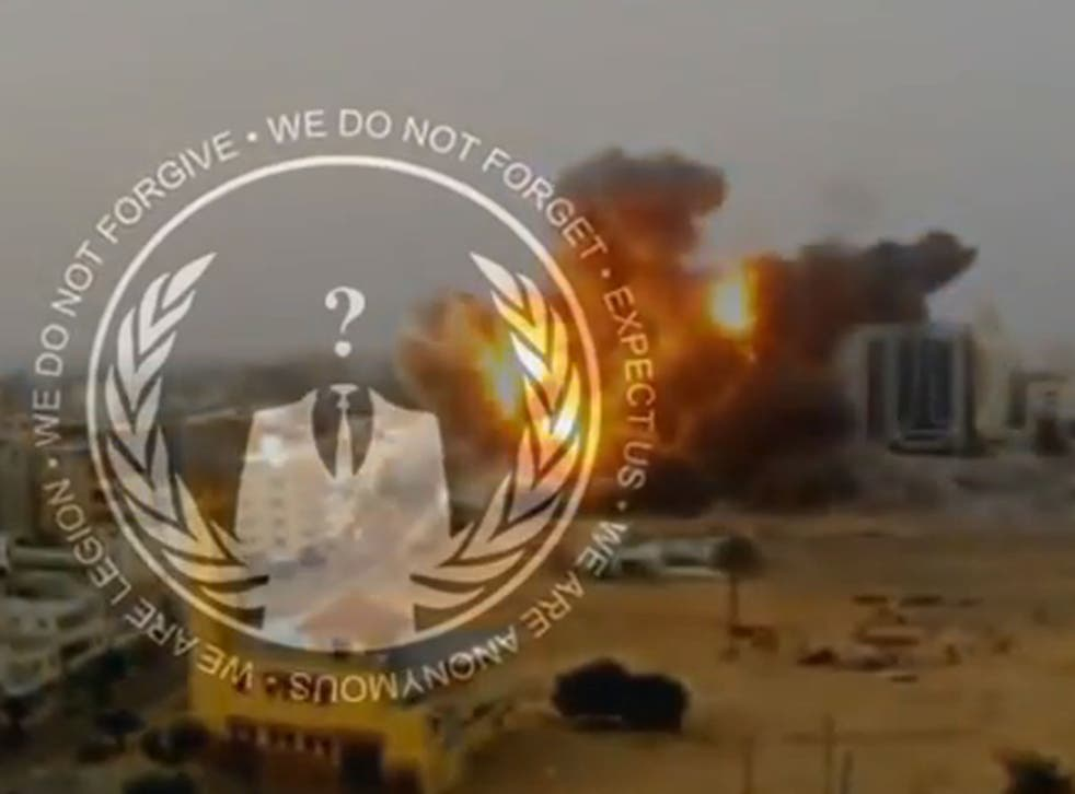 A screengrab from the video posted online by Anonymous, warning of a cyberattack on Israel