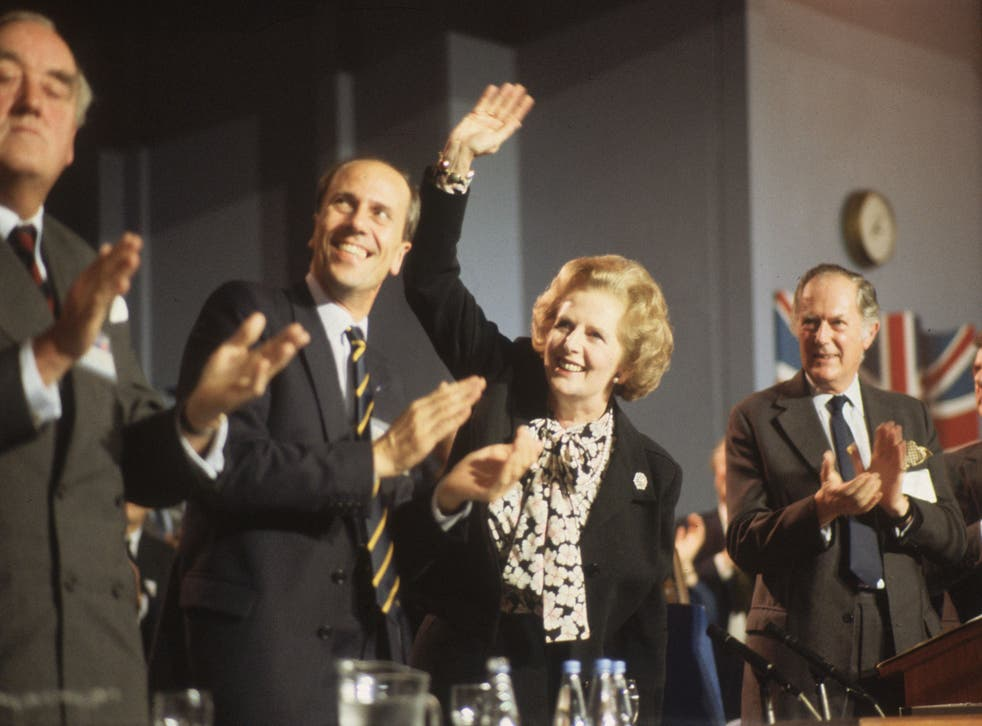 October 1985: Viscount Whitelaw, Norman Tebbit and Margaret Thatcher at the Conservative Party Conference in Blackpool