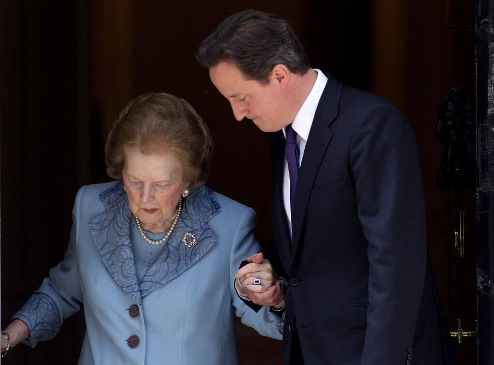 British Prime Minister David Cameron and former Prime Minister Baroness Thatcher leave from Number 10 Downing Street following her visit on June 8, 2010 in London, England.