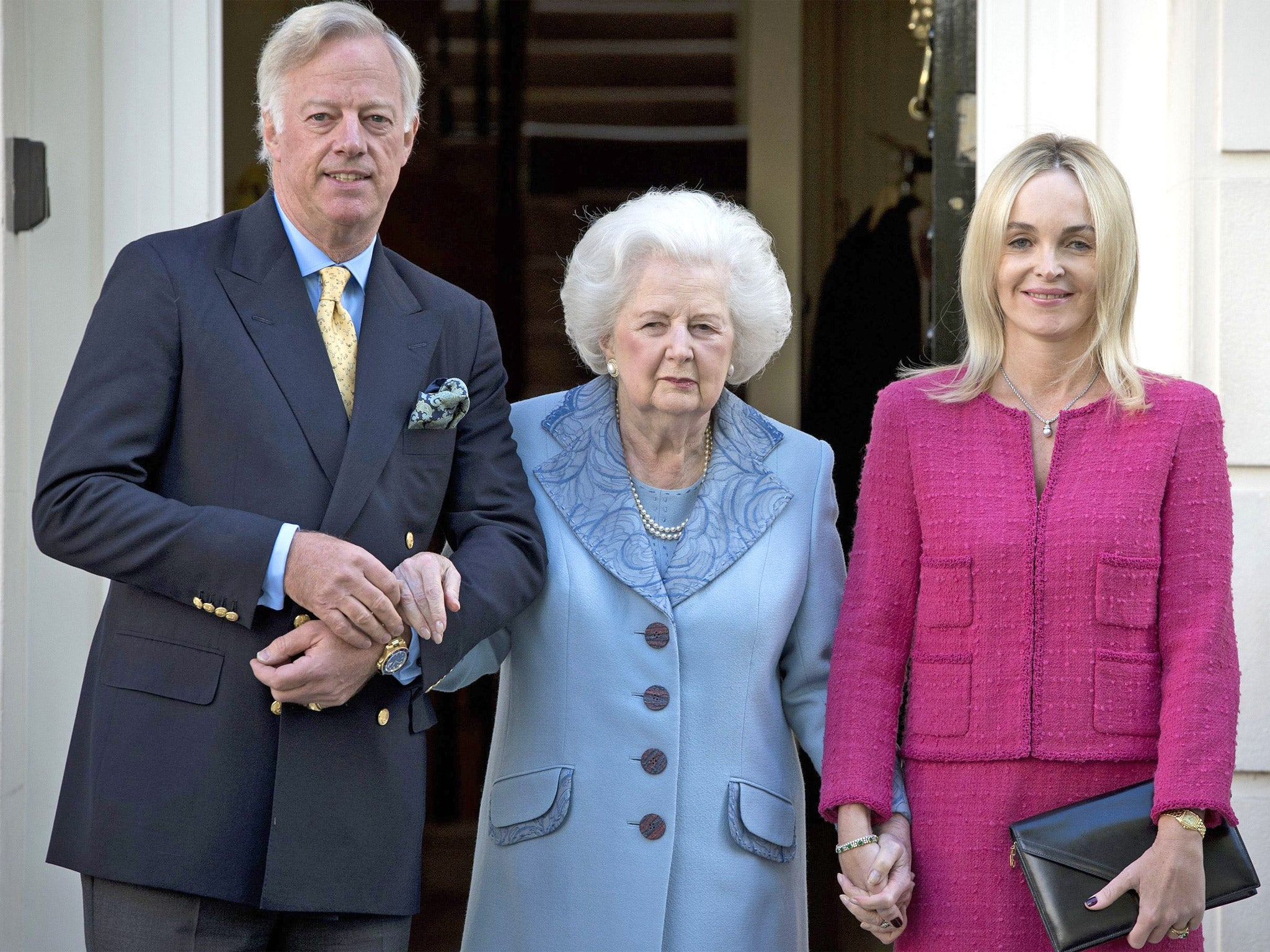Baroness Thatcher with her son Mark and his wife Sarah in 2012