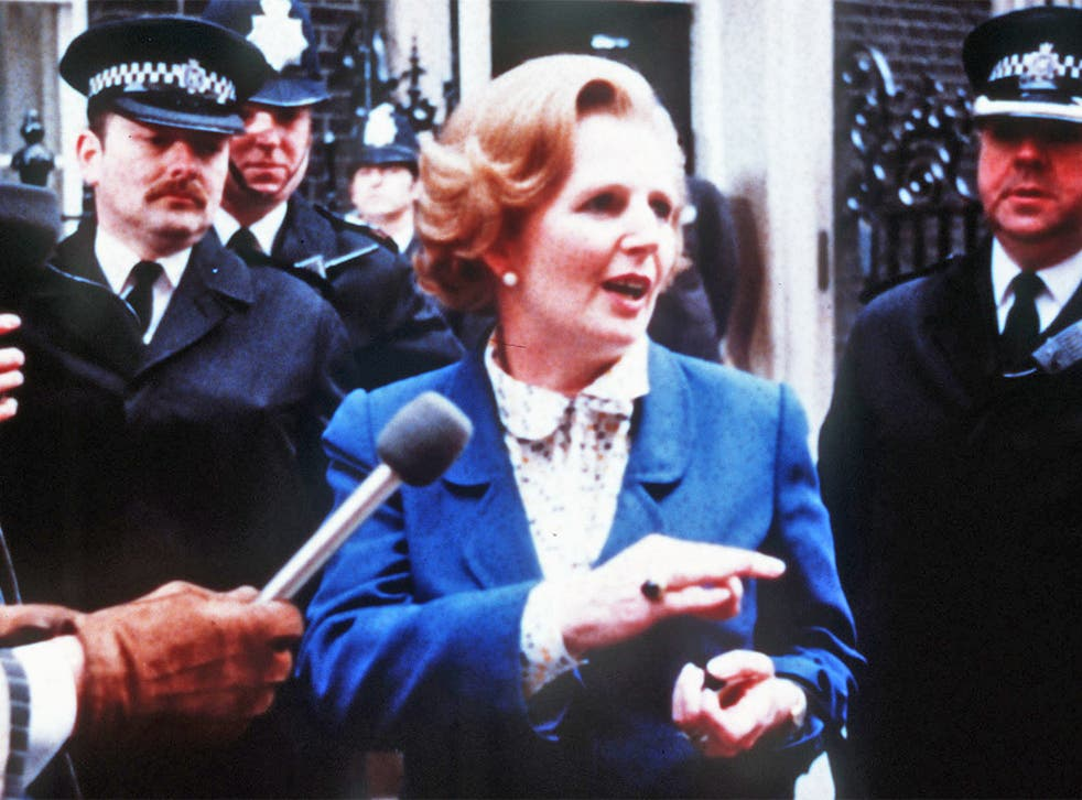 Margaret Thatcher arriving at 10 Downing Street in London after winning the general election in 1979