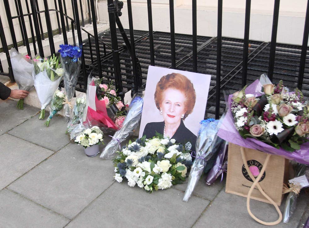 Flowers laid outside the home of Baroness Thatcher in Belgravia