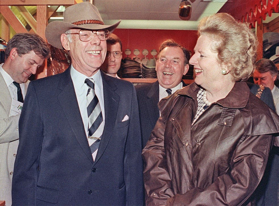 Mrs Thatcher and husband Denis in Perth, Australia, in 1988