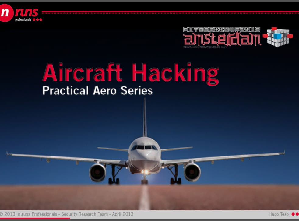 A presentation slide from Hugo Teso's Aircraft Hacking talk at Hack In The Box