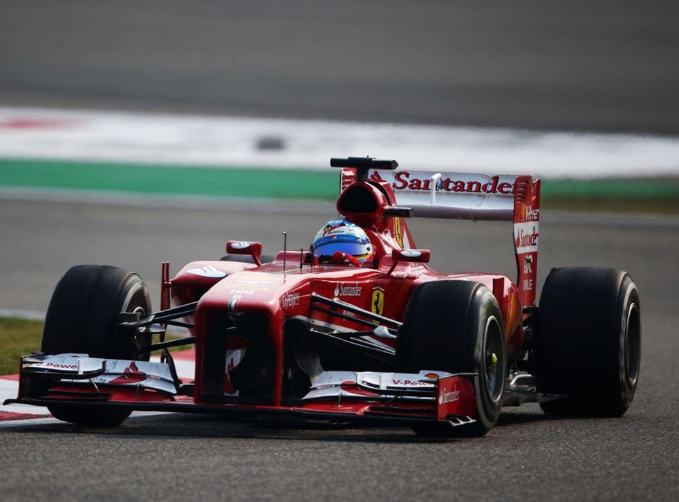 Fernando Alonso of Spain and Ferrari drives during the Chinese Formula One Grand Prix at the Shanghai International Circuit