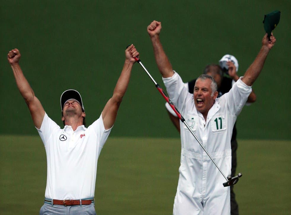 Adam Scott celebrates his Masters triumph