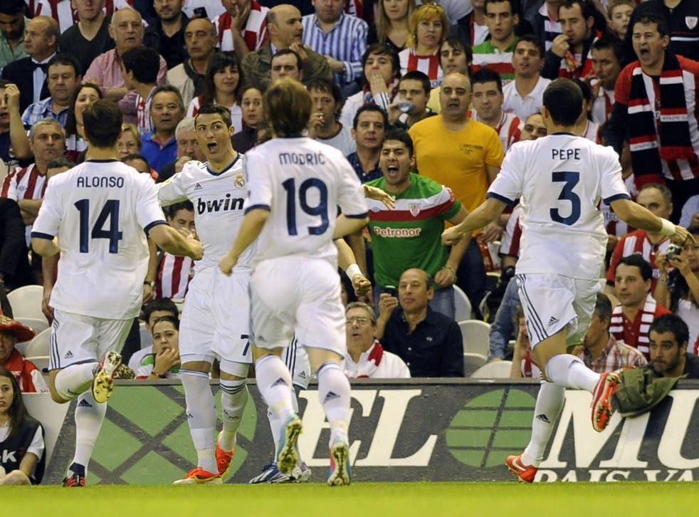 Cristiano Ronaldo celebrates a brace against Athletic Bilbao