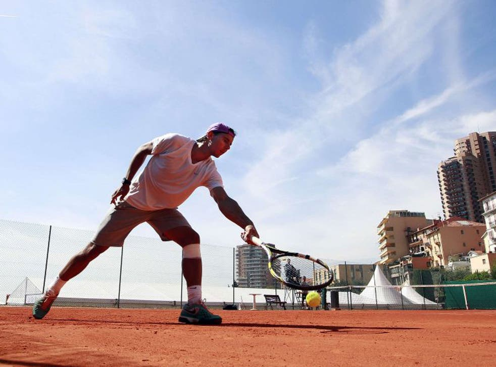 Spain's Rafael Nadal trains at the Monte Carlo Country Club yesterday