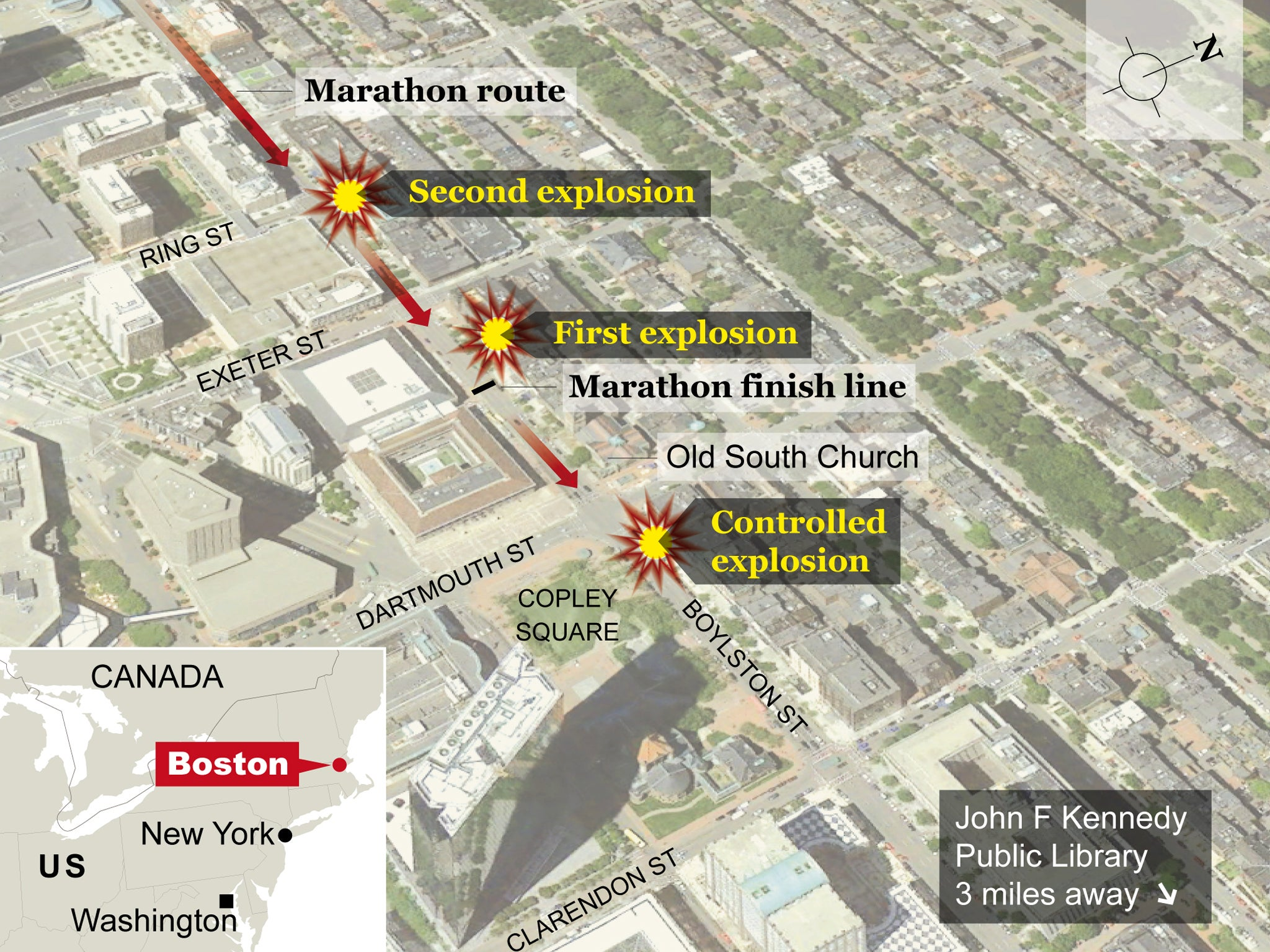 Map How the Boston Marathon bombings happened  The Independent