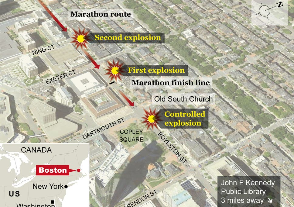 Map: How the Boston Marathon bombings happened | The Independent