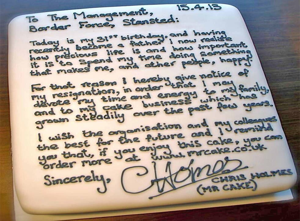 A picture of Chris Holmes' resignation cake was posted on twitter