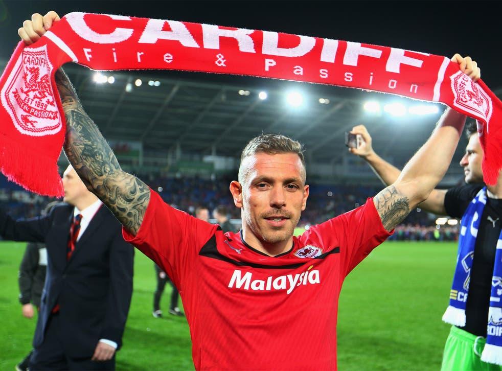 Craig Bellamy celebrates Cardiff's promotion to the Premier League