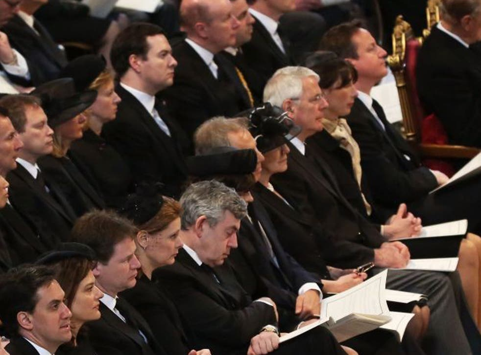 Members of the Cabinet, alongside former Prime Ministers and members of the opposition on the front row at today's service