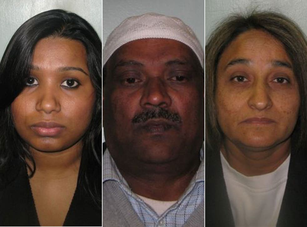 Shamina Yousuf, Enkarta Balapovi and Shashi Kala Obhrai (left, centre, right) all 'employed' the woman at various times, and have all been convicted of varying degrees of abuse