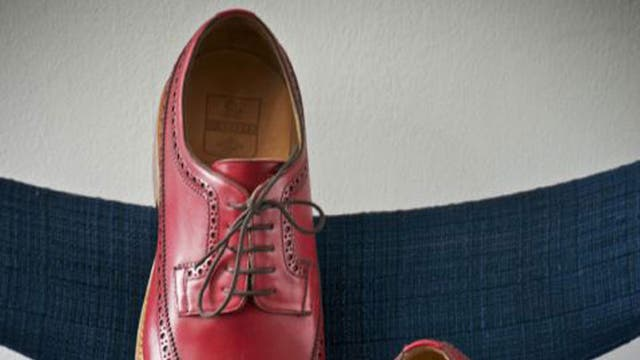 Red leather brogues £395