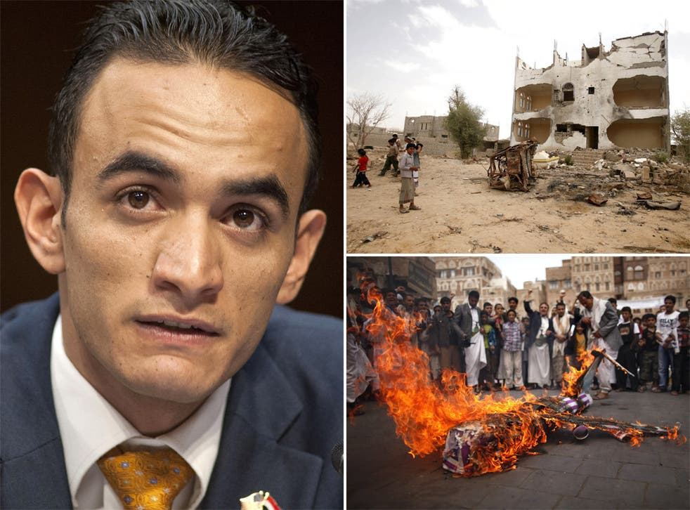 (Clockwise from left) Farea Al-Muslimi before the Senate Judiciary subcommittee on the Constitution, Civil Rights, and Human Rights; Damage caused by a drone attack in Azan; An effigy of a U.S. drone is burnt in protest