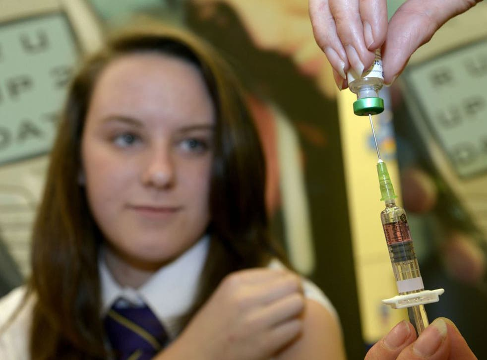 Lucy Butler,15, getting ready to have her measles jab at All Saints School in Ingleby Barwick, Teesside as a national vaccination catch-up campaign has been launched to curb a rise in measles cases in England