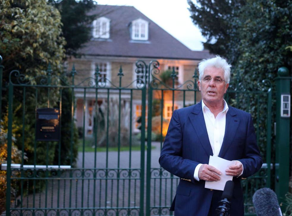 Max Clifford addresses reporters outside his home this evening
