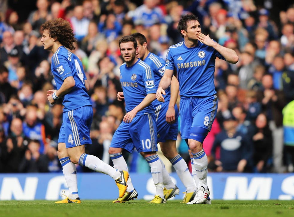 Frank Lampard celebrates his 201st goal for Chelsea