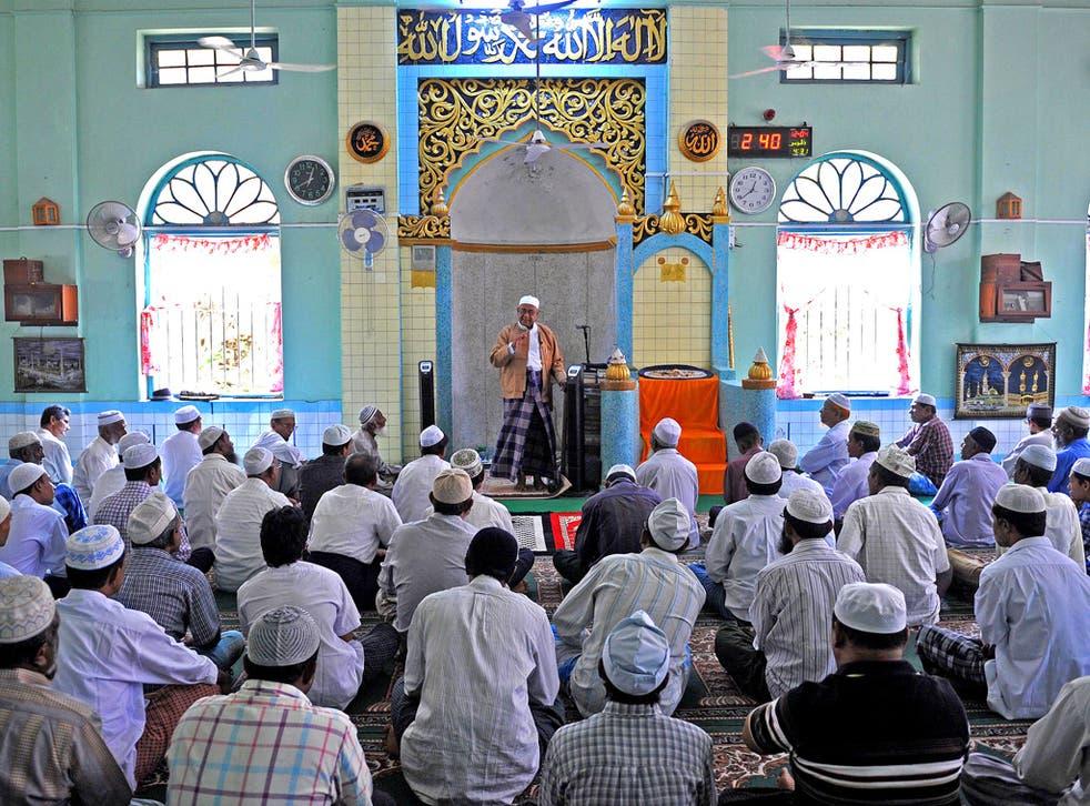 A prayer service at a mosque in Yangon, Burma