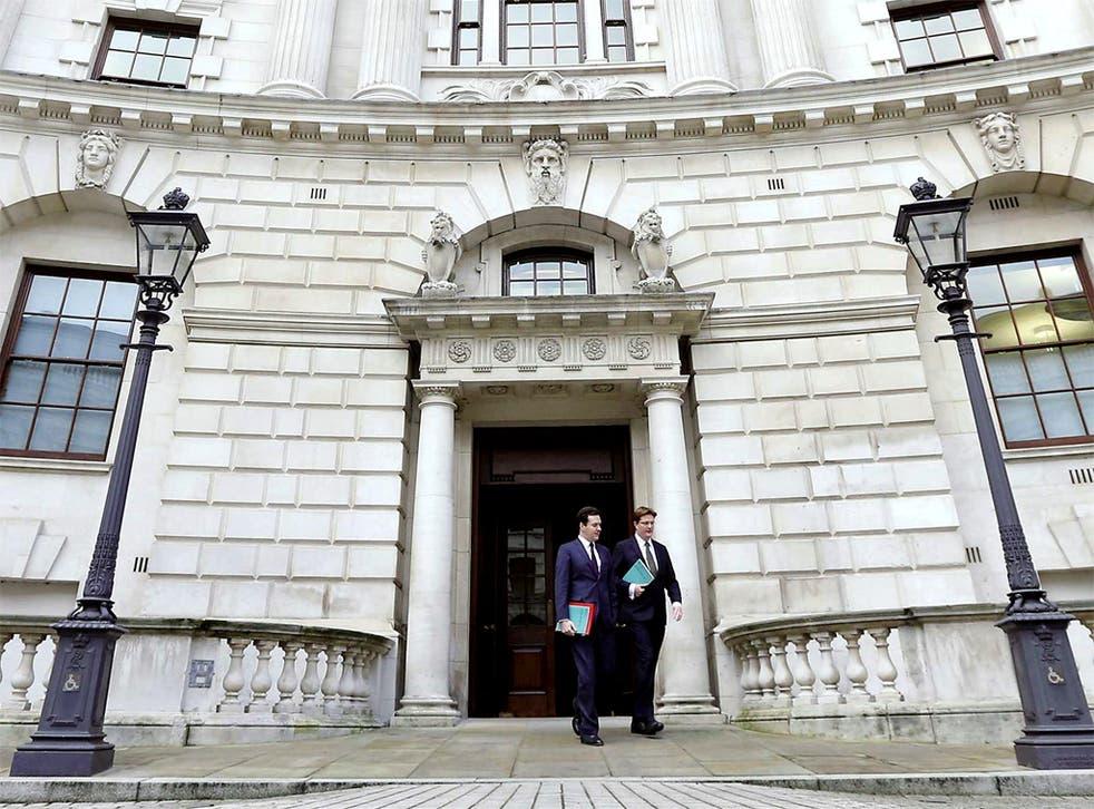 Chancellor George Osborne and Chief Secretary to the Treasury Danny Alexander, outside the Treasury