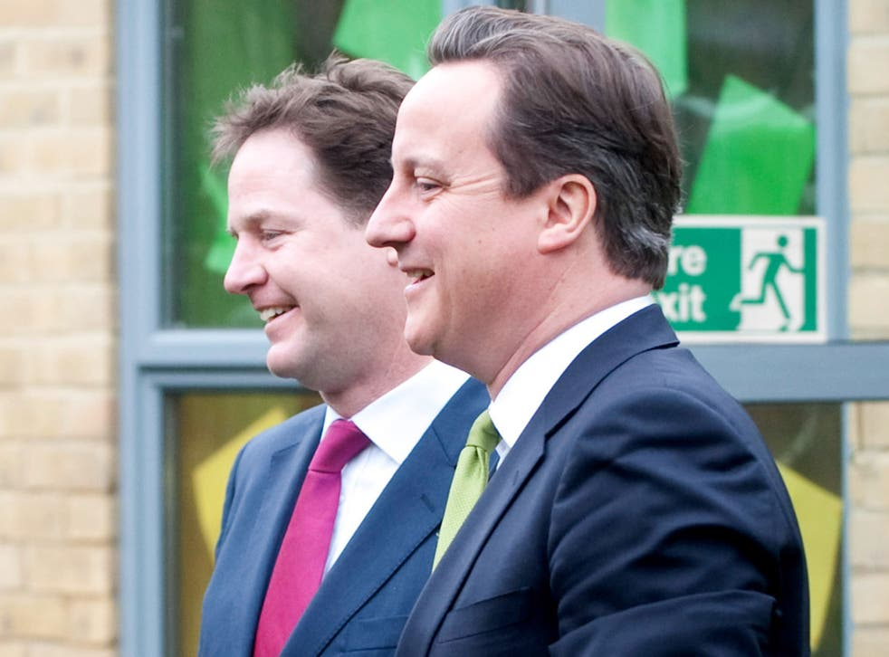 Don't drop the ball: Nick Clegg and David Cameron in Wandsworth in March