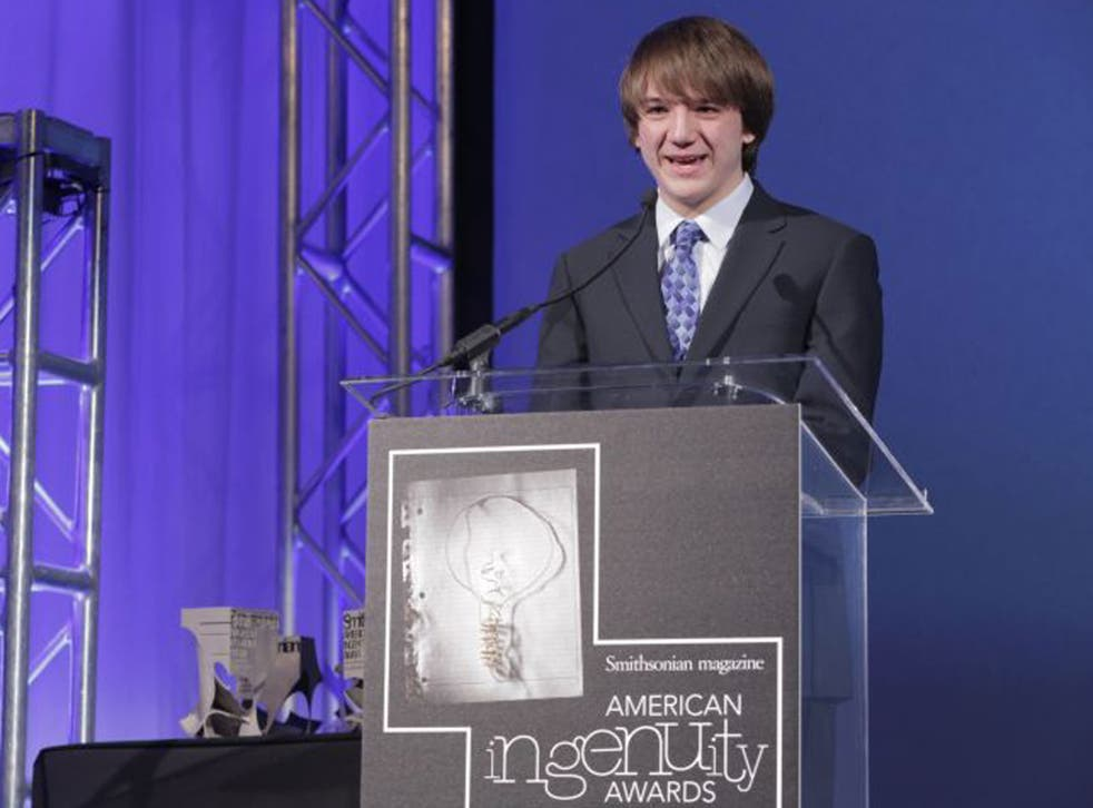 Jack Andraka speaks after receiving Smithsonian Magazine's first annual American Ingenuity Award for youth achievement