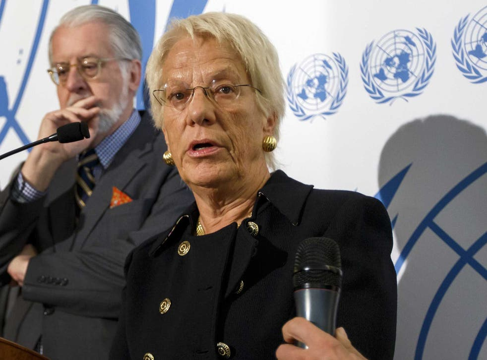 Carla Del Ponte said that testimony gathered from casualties and medical staff indicated that the nerve agent sarin gas was used by rebel fighters