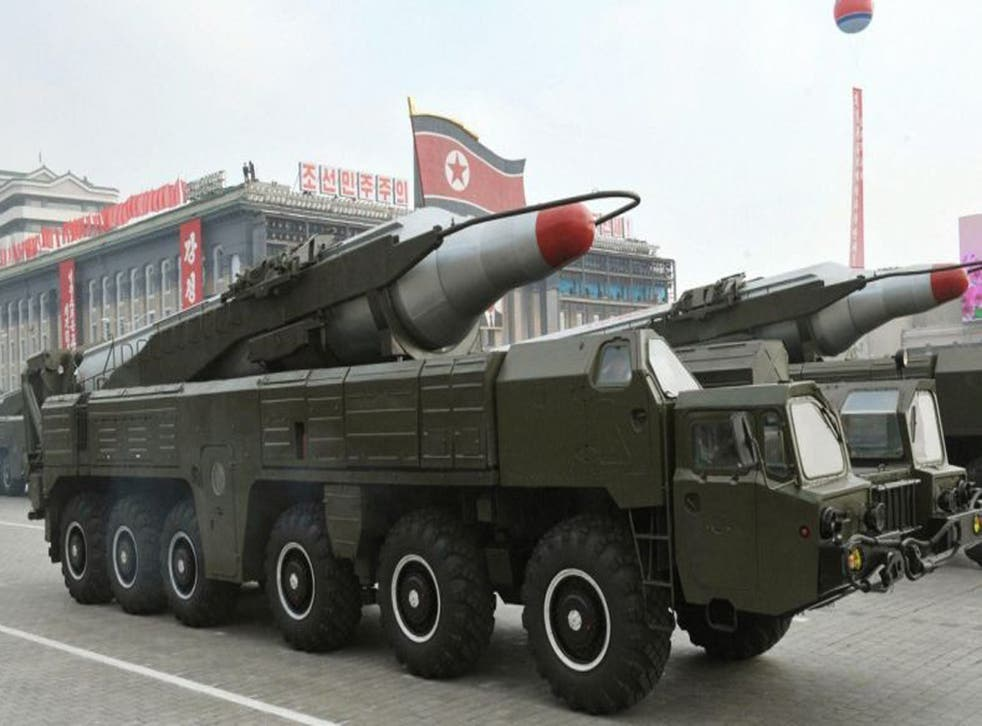 Two Musuan missiles, like these pictured at a military parade in 2010, have reportedly been moved from their coastal launch site