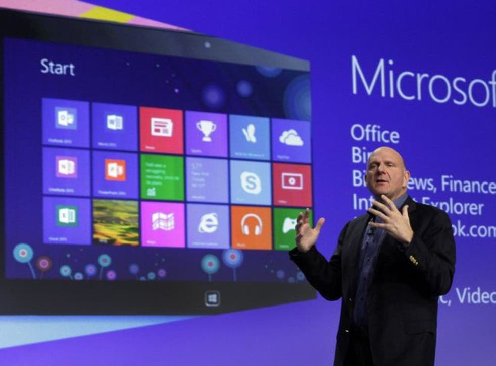 Microsoft CEO Steve Ballmer at the launch of Microsoft Windows 8 in October 2012