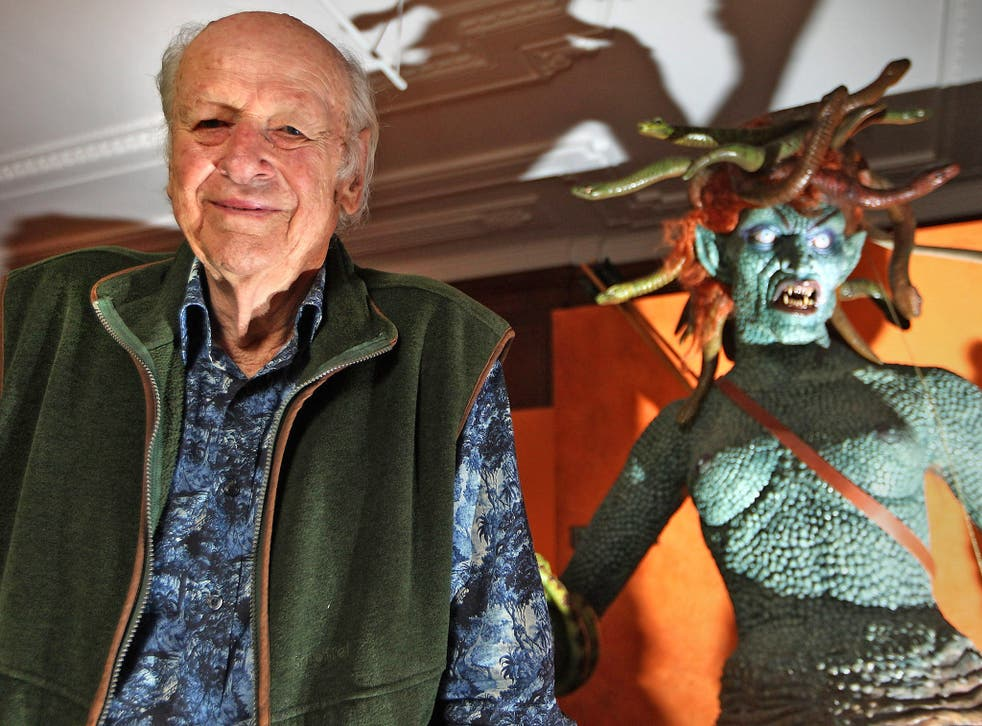 Ray Harryhausen alongside a model of Medusa from 'Clash Of The Titans'