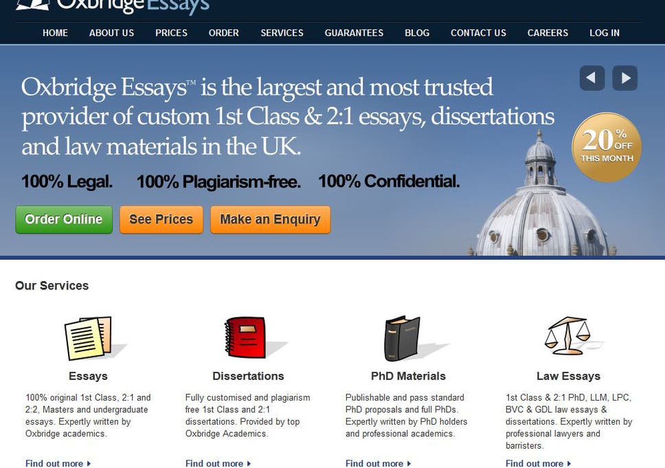 Essaywriting Service Grade Guarantee Advert Banned  The Independent A Screengrab Of The Front Page Of Oxbridgeessayscom Today Health Promotion Essays also Compare And Contrast Essay High School And College  Essay Writing Examples English