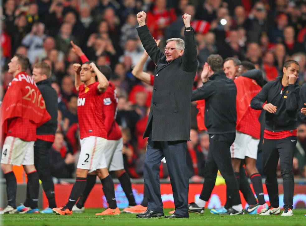 Ferguson celebrates his latest, and last, Premier League title triumph