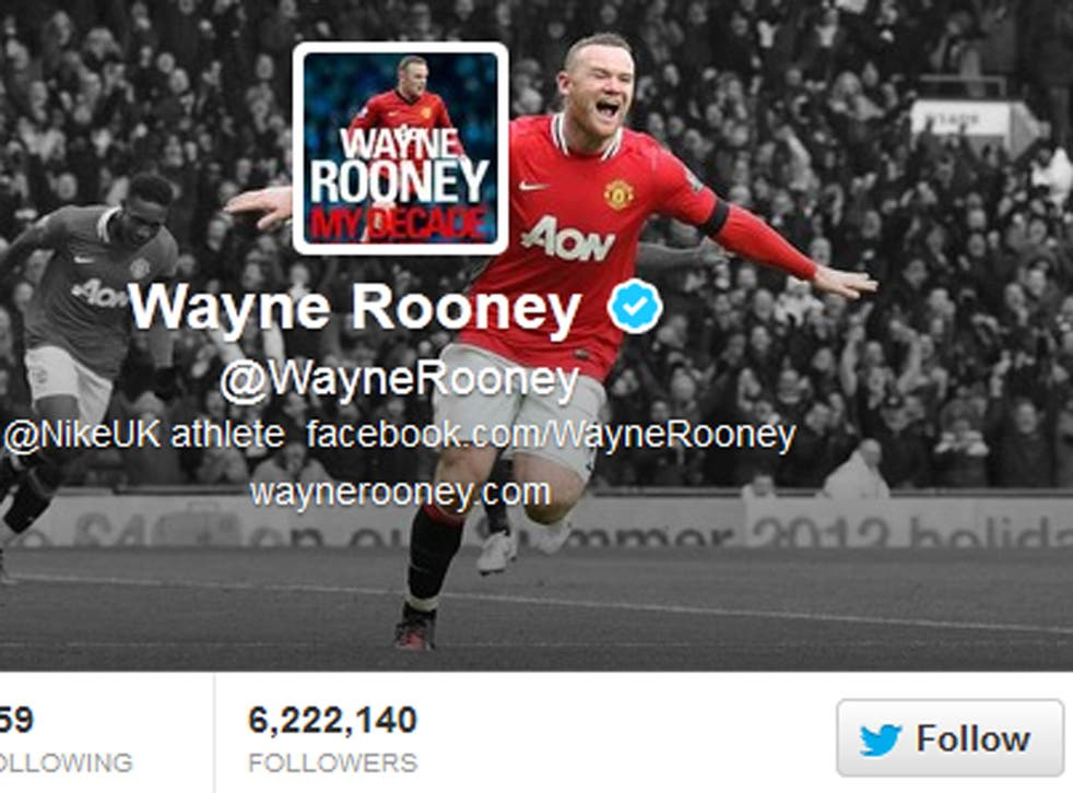 A view of Wayne Rooney's Twitter profile