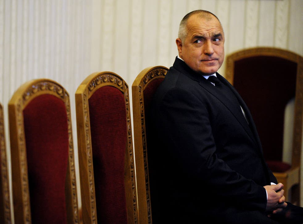 Bulgaria's outgoing Prime Minister Boyko Borisov waits to meet Bulgarian president at the presidency in Sofia on February 25, 2013. Bulgaria's outgoing Prime Minister Borisov turned down on Monday a presidential mandate to form a new cabinet, opening the way for snap elections after being forced out by protests last week.